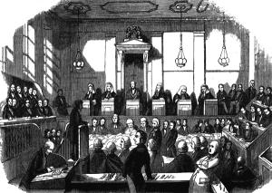 Een advocaat aan het werk in de Engelse Old Bailey in 1842
